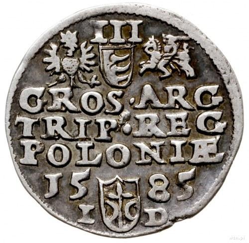 trojak 1585, Olkusz; bez inicjałów po bokach Orła i Pog...