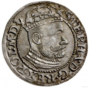 grosz 1582, Olkusz; Aw: Głowa króla w prawo, w koronie ...