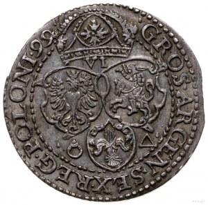 szóstak 1599, Malbork; skrócona data na końcu napisu ot...