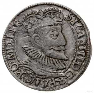 grosz 1593, Olkusz; Aw: Popiersie króla i napis wokoło,...