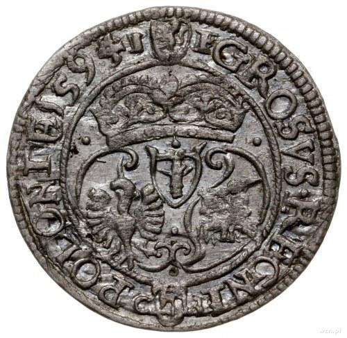grosz 1594, Olkusz; Aw: Popiersie króla i napis wokoło,...