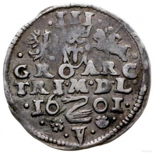 trojak 1601, Wilno; na rewersie herb Łabędź przedziela ...
