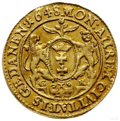 dukat 1648, Gdańsk; Aw: Popiersie króla w prawo i napis...