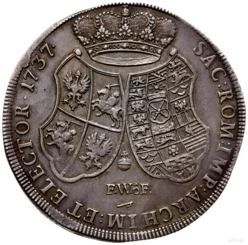 talar 1737, Drezno; Aw: Popiersie w prawo i napis wokoł...