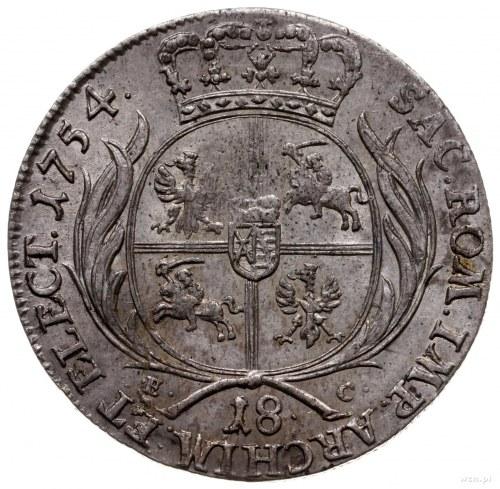 ort 1754, Lipsk; średnie, buldogowate popiersie króla z...