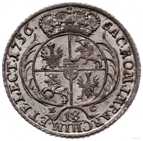 ort 1756, Lipsk; szerokie popiersie króla z szeroką kor...
