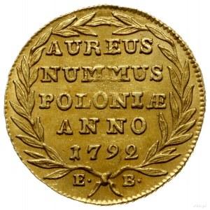 dukat 1792, Warszawa; Aw: Głowa króla w prawo, napis wo...