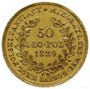 50 złotych 1829 FH, Warszawa; pod wieńcem dębowym inicj...