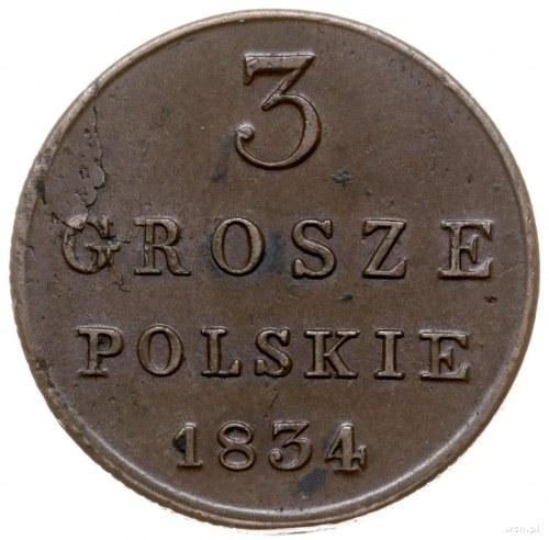 3 grosze polskie 1834 KG, Warszawa; stare bicie, odmian...
