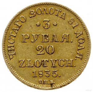 3 ruble = 20 złotych 1835 П-Д / СПБ, Petersburg; Bitkin...