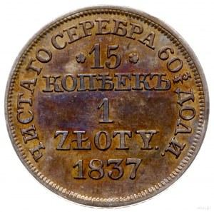 15 kopiejek = 1 złoty 1837 MW, Warszawa; wąska tarcza z...