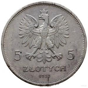 5 złotych 1932, Warszawa; Nike; Parchimowicz 114e; pięk...