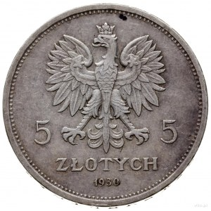 5 zlotych 1930, Warszawa; Sztandar - 100. rocznica Pows...
