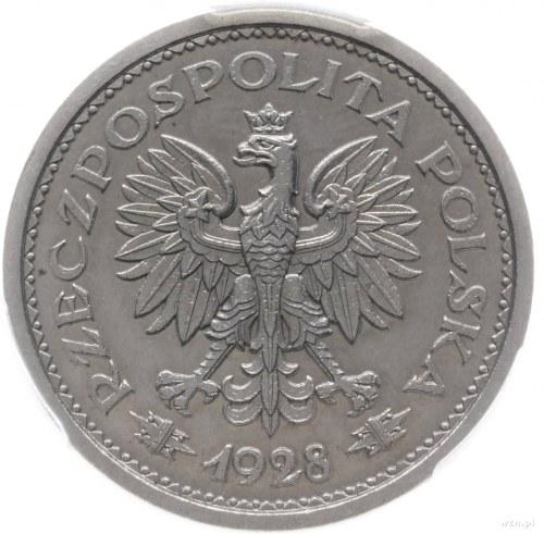 1 złoty 1928, Warszawa; napis PRÓBA pod nominałem, w ot...