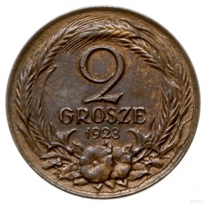 2 grosze 1923, Warszawa; nominał po obu stronach monety...