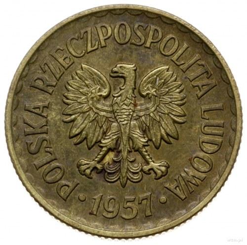 1 złoty 1957, Warszawa; Nominał 1, wklęsły napis PRÓBA ...