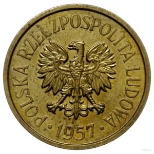 20 groszy 1957, Warszawa; Nominał 20, wklęsły napis PRÓ...
