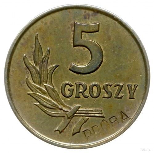 5 groszy 1958, Warszawa; Nominał 5, wklęsły napis PRÓBA...