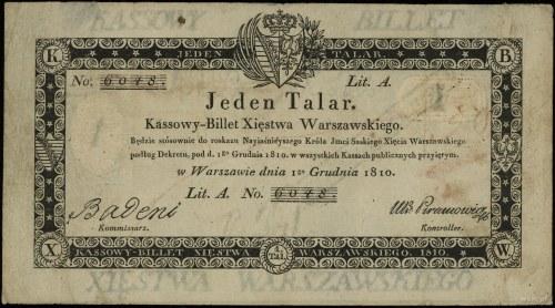 1 talar 1.12.1810, podpis komisarza Badeni, numeracja 6...