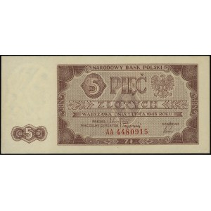 5 złotych 1.07.1948, seria AA, numeracja 4480915; Lucow...