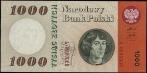 1.000 złotych 24.05.1962, seria A, numeracja 0000000; L...