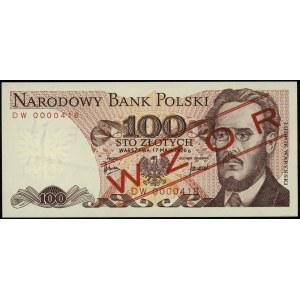100 złotych 17.05.1976, seria DW, numeracja 0000418; cz...