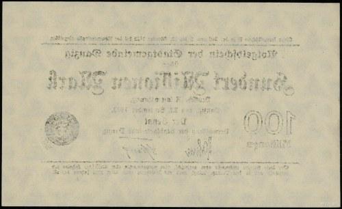 """100.000.000 marek 22.09.1923, znak wodny """"trójkąty i kó..."""