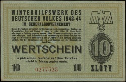 10 złotych 1943-1944; numeracja 0277525, niewypełniony ...