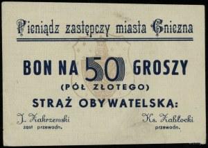 Gniezno, Straż Obywatelska, zestaw bonów 50 groszy, 2 i...
