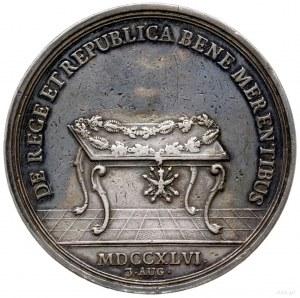 medal sygnowany H F Wermuth wybity w 1746 r. z okazji ś...