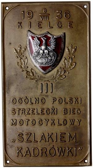 plakieta z zawodów strzeleckich w Kielcach 8/08/1936; O...