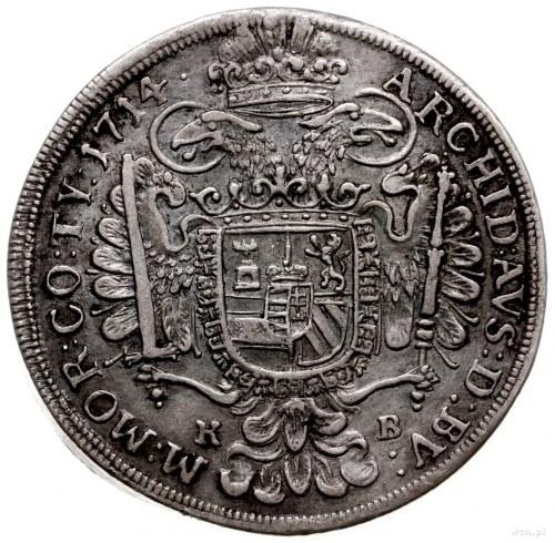 półtalar 1714, Krzemnica; Aw: Popiersie w prawo i napis...