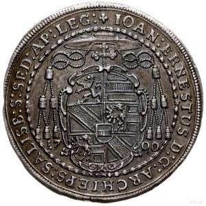 półtalar 1700, Salzburg; Aw: Tarcza herbowa, wokoło nap...