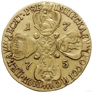 10 rubli 1775, Petersburg; pod popiersiem СПБ; Bitkin 3...