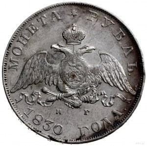 rubel 1830 СПБ НГ, Petersburg; długie wstęgi pod Orłem,...