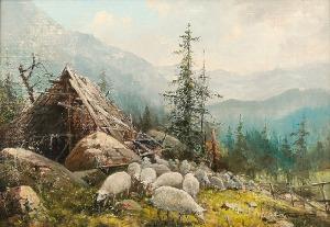 Zygmunt KACZÓWKA (1915-1996), Pejzaż górski z owcami i szałasem
