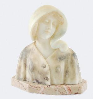 Giuseppe BESSI (1857-1922), Popiersie młodej kobiety w czepku, ok. 1900