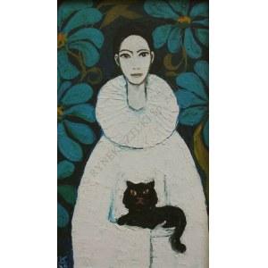 Krystyna Liberska (1926-2010), Pierrot z czarnym kotem
