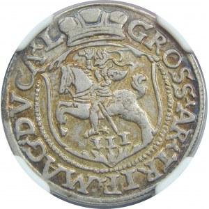 Zygmunt II August, Trojak 1564, Wilno, NGC AU58