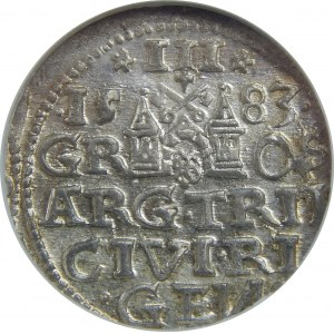 Stefan Batory, Trojak 1583, Ryga, NGC MS64