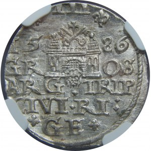Stefan Batory, Trojak 1586, Ryga, NGC MS63