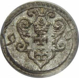 Zygmunt III Waza, Denar 1596-mała data, Gdańsk, PCGS MS64