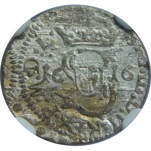 Zygmunt III Waza, Szeląg 1616, Wilno, NGC MS63