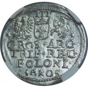 Zygmunt III Waza, Trojak 1605, Kraków, NGC MS64