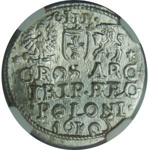 Zygmunt III Waza, Trojak 1605, Kraków, NGC MS63