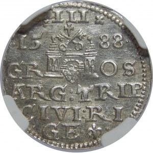 Zygmunt III Waza, Trojak 1588, Ryga, NGC MS62