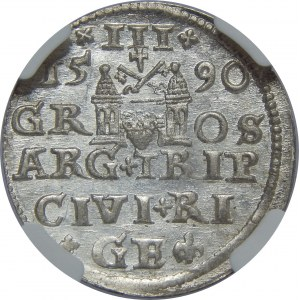 Zygmunt III Waza, Trojak 1590, Ryga, NGC MS65