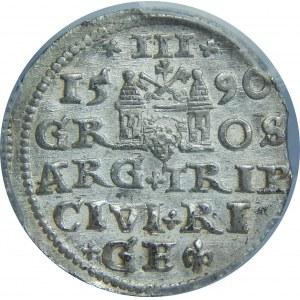 Zygmunt III Waza, Trojak 1590, Ryga, PCGS MS62