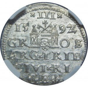 Zygmunt III Waza, Trojak 1592, Ryga, NGC MS63