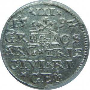Zygmunt III Waza, Trojak 1592, Ryga, PCGS MS62